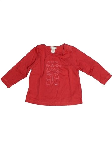 T-shirt manches longues fille OKAIDI rouge 6 mois hiver #1103766_1