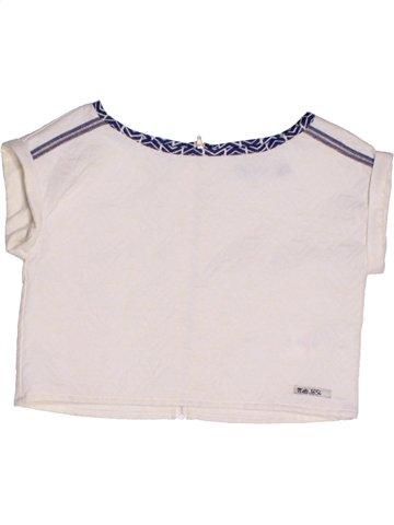 T-shirt manches courtes fille JEAN BOURGET blanc 8 ans été #1208977_1