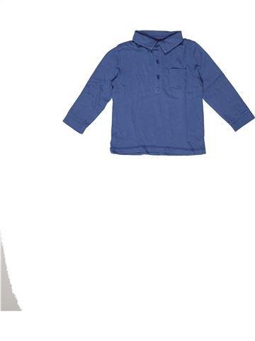 Polo manches longues garçon BOUT'CHOU bleu 2 ans hiver #1270216_1