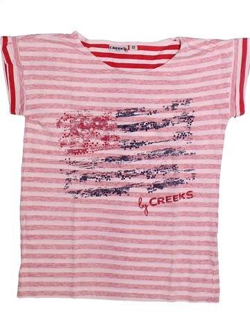 T-shirt manches courtes garçon CREEKS rose 12 ans été #1273336_1