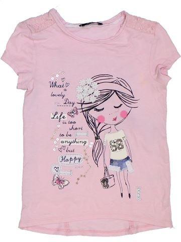 T-shirt manches courtes fille GEORGE rose 7 ans été #1275265_1