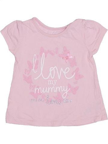 T-shirt manches courtes fille GEORGE rose 9 mois été #1304236_1