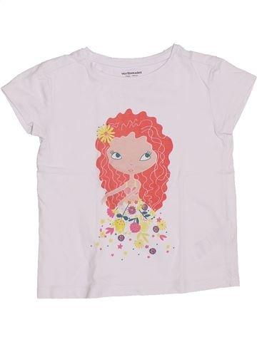 T-shirt manches courtes fille VERTBAUDET blanc 5 ans été #1326014_1