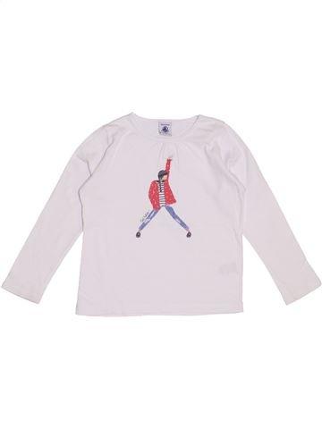 T-shirt manches longues fille PETIT BATEAU blanc 5 ans hiver #1370292_1