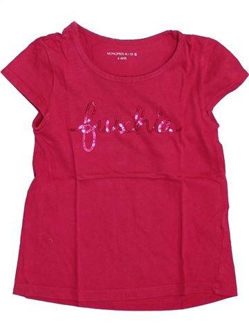 T-shirt manches courtes fille MONOPRIX rose 4 ans été #1399348_1