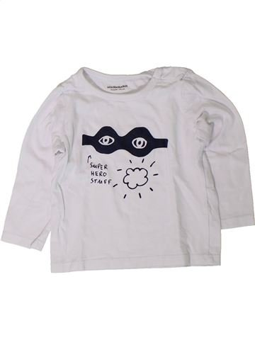 T-shirt manches longues garçon VERTBAUDET blanc 12 mois hiver #1401459_1