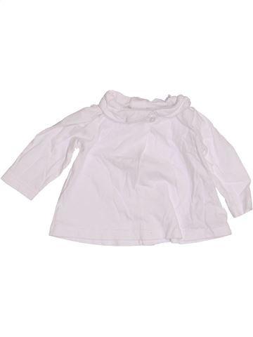 T-shirt manches longues fille BOUT'CHOU blanc 3 mois hiver #1410690_1