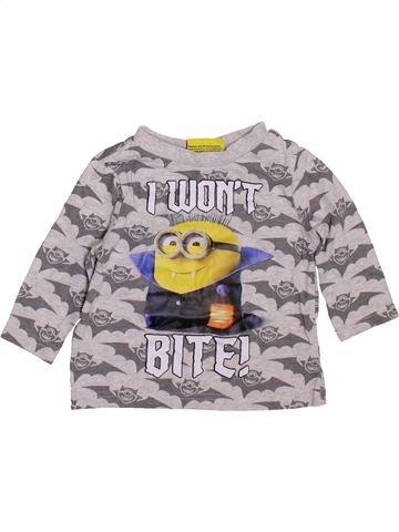 T-shirt manches longues garçon LES MINIONS gris 6 mois hiver #1414735_1
