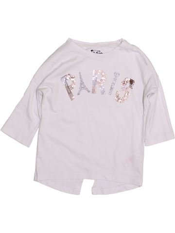 T-shirt manches longues fille F&F blanc 7 ans hiver #1431967_1