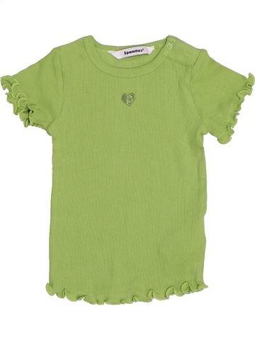 Camiseta de manga corta niña 3 POMMES verde 12 meses verano #1440154_1