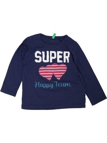 T-shirt manches longues fille BENETTON bleu 12 mois hiver #1452913_1
