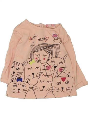 T-shirt manches longues fille DPAM rose 6 mois hiver #1462129_1
