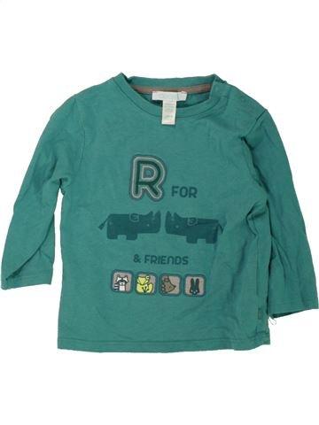T-shirt manches longues garçon OKAIDI vert 12 mois hiver #1463363_1