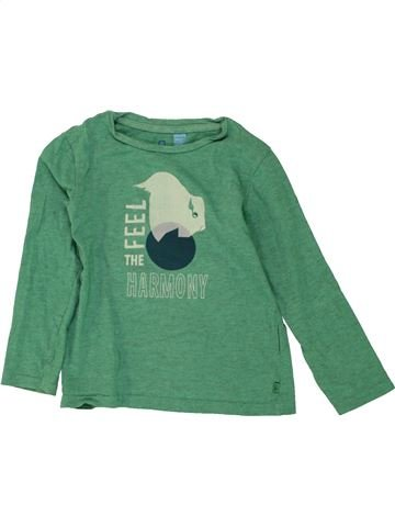 T-shirt manches longues garçon OKAIDI vert 4 ans hiver #1464163_1