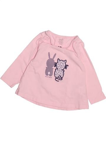 T-shirt manches longues fille OKAIDI rose 6 mois hiver #1491896_1