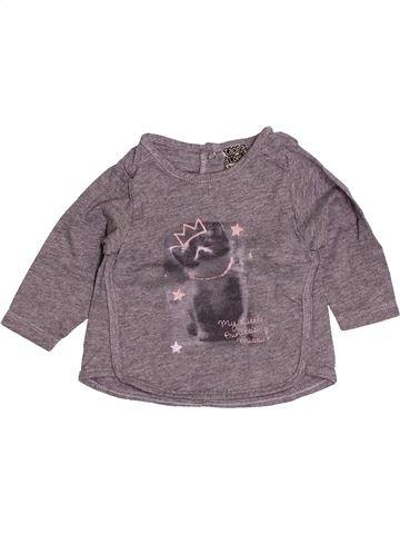 T-shirt manches longues fille TAPE À L'OEIL gris 3 mois hiver #1505677_1