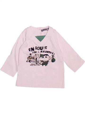T-shirt manches longues garçon TAPE À L'OEIL blanc 6 mois hiver #1510102_1