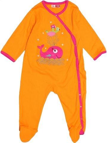 Pyjama 1 pièce fille DPAM orange 6 mois été #1515868_1