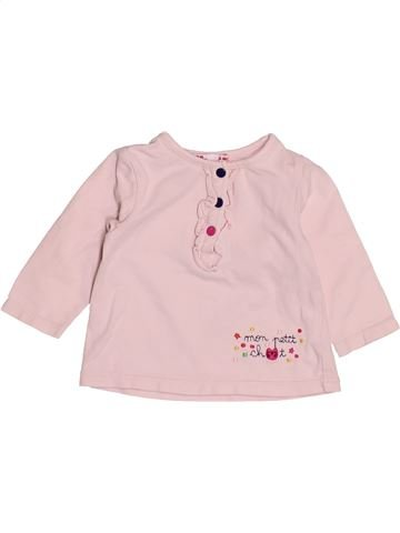 T-shirt manches longues fille DPAM rose 3 mois hiver #1527953_1