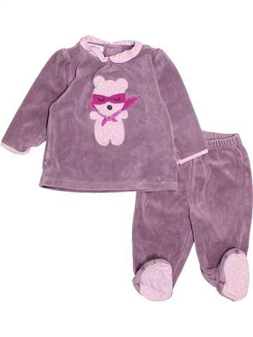 Pyjama 2 pièces fille OKAIDI violet 6 mois hiver #1527986_1